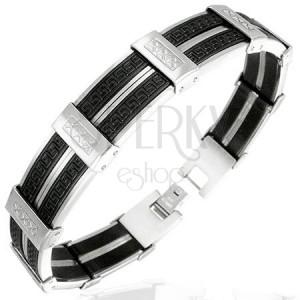 Náramek z oceli - černo-stříbrné linie s řeckým a xxx vzorem