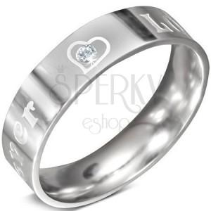 Ocelový prsten - nápis FOREVER LOVE a zirkon, 6 mm