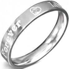 Prstýnek z nerezové oceli - nápis FOREVER LOVE a zirkon, 3 mm