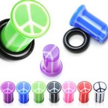 Plug do ucha UV se znakem míru, mramorový, s gumičkou