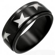 Černý ocelový prsten s točící se obručí a hvězdami B4.08
