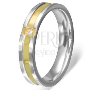 Prsten z nerezové oceli - zlatý křížený pás s čirým kamínkem