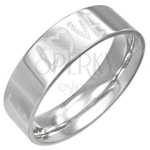 Ocelový prstýnek s gravírovaným nápisem LOVE