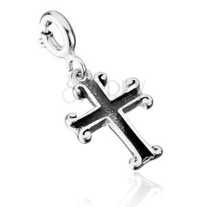 Patinovaný přívěsek ze stříbra 925 - dutý kříž