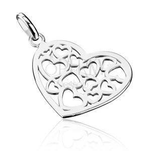 Přívěsek ze stříbra 925 - vyřezávané srdce