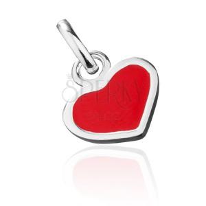 Stříbrný přívěsek 925 - červené srdce se stříbrným okrajem
