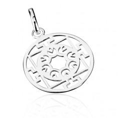 Stříbrný přívěsek 925 - kruh s květy a T-vzorem AB5.15