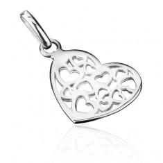 Stříbrný přívěsek 925 - malé filigránové srdce X19.14
