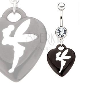 Ocelový barbell - zirkon, černé srdce s bílou vílou