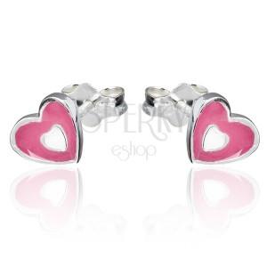 Náušnice ze stříbra 925 - růžovo-bílé srdce, puzetky