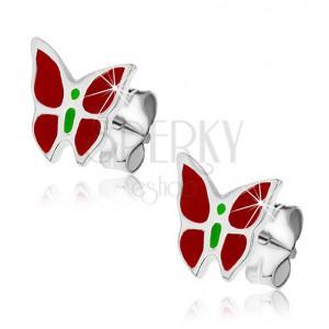 Stříbrné puzetky 925 - červeno-zelený motýl