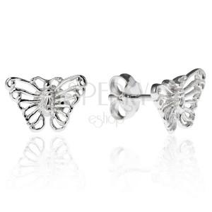 Stříbrné puzetky 925 - filigránový motýl