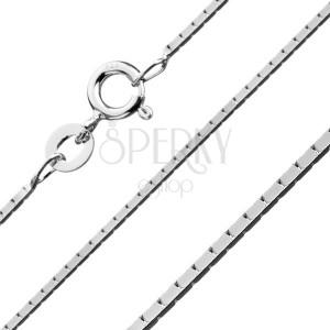 Stříbrný čtverhranný řetízek 925 - spojené obdélníky, 0,8 mm