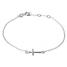 Stříbrný řetízek 925 na ruku - lesklý zaoblený křížek