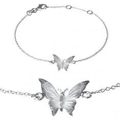 Náramek ze stříbra 925 - gravírovaný motýlek na řetízku