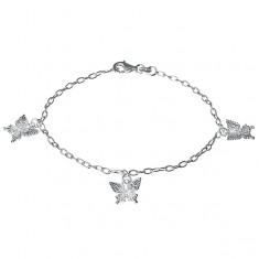 Stříbrný náramek - gravírovaní motýli na řetízku, stříbro 925
