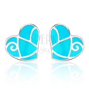 Ocelové náušnice - modré srdce, lesklé pásky
