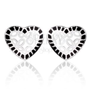 Ocelové náušnice - bílé srdce s černým lemem