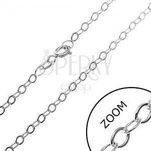 Stříbrný řetízek 925 - hladké ovály, 2,5 mm