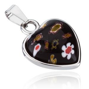 Přívěsek z chirurgické oceli - srdce s květovaným kamínkem