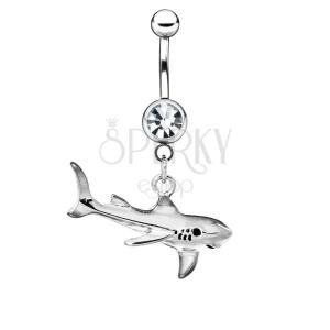 Ocelový piercing do bříška - žralok s patinou