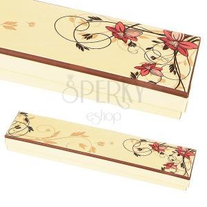 Krabička na náramek - světle žlutá s růžovými květy