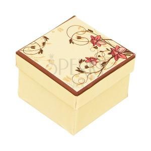 Dárková krabička na prsten - světle žlutá s růžovým narcisem