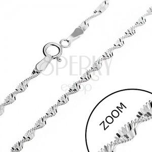 Stříbrný řetízek 925 - obdélníky ve spirále, 2 mm