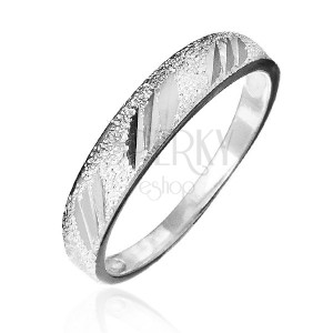 Prsten ze stříbra 925 - pískovaný s lesklými zářezy