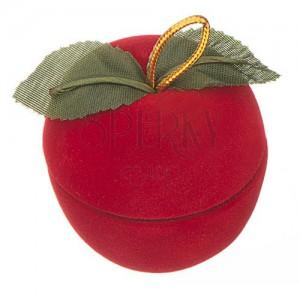 Sametová krabička na prsten - jablko s lístky