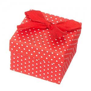 Dárková krabička na šperk - bílé tečky s mašlí