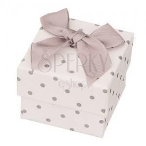 Dárková krabička na šperk - sivé tečky s mašlí