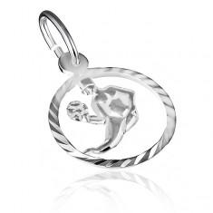 """Přívěsek ze stříbra 925 - lesklý kruh a znamení """"panna"""" X10.19"""