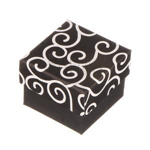 Krabička na prsten - černá s bílými ornamenty