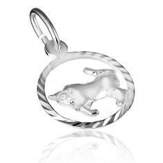 """Přívěsek ze stříbra 925 - lesklý kruh a znamení """"býk"""" X30.08"""