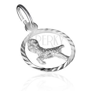 Stříbrný přívěsek 925 - znamení berana v lesklém kruhu