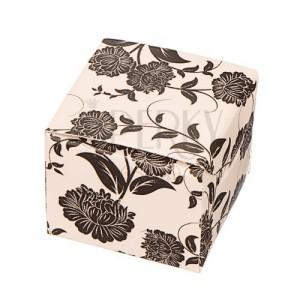 Dárková krabička na náušnice - černé květy na béžovém podkladu