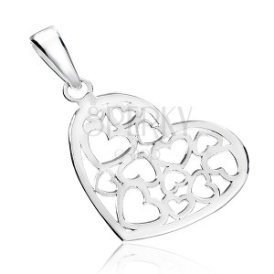 Přívěsek ze stříbra 925 - lesklé srdce s vyřezávaným vzorem