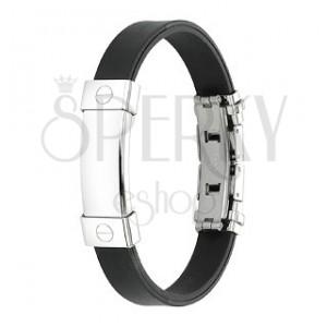 Černý gumový náramek s hladkou ocelovou známkou