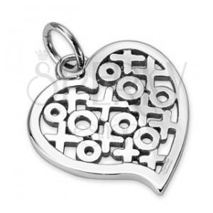 Lesklý ocelový přívěsek - srdce se vzorem kruhů a křížků
