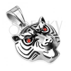 Ocelový přívěsek - lesklá hlava tygra s červenýma očima