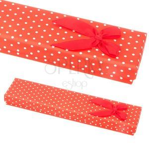 Červená dárková krabička na náramek - bílé tečky s mašlí