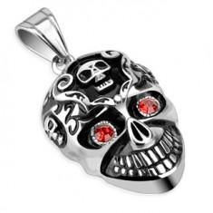 Ocelový přívěsek s patinou - lebka a červené kamínky AB7.14