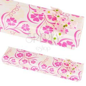 Květovaná krabička na náramek s tečkovanou mašlí