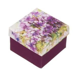 Dárková krabička na prsten - motiv fialek