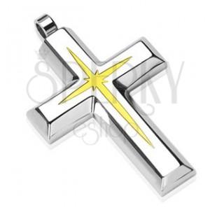 Ocelový přívěsek - kříž s vnitřním zlatým menším křížkem