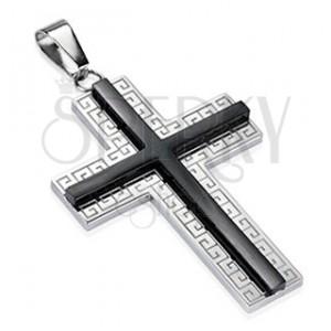 Ocelový přívěsek - Kříž s ornamenty a černým středem