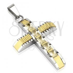 Ocelový přívěsek - kříž se zirkony a zlatým středem