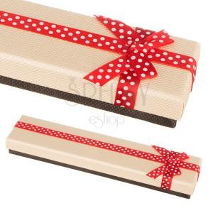 Béžovo-hnědá krabička na náramek s tečkovanou stuhou