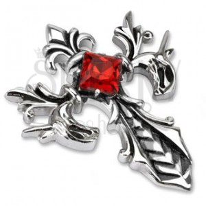 Ocelový přívěsek - kříž s motivem královské lilie a kamínkem
